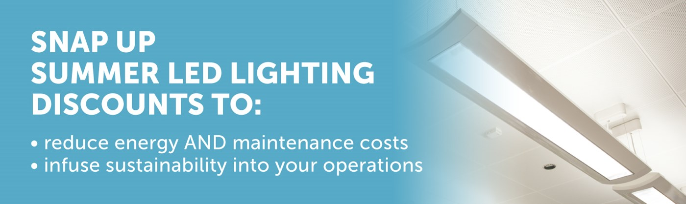 Snap Up Summer Lighting Discounts to reduce energy AND maintenance costs and infuse sustainability into your operations